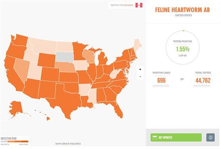 View Heartworm Map for cats on capcvet.org